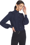 Numero Ventuno Ruffle Trimmed Crepe Blouse (navy)