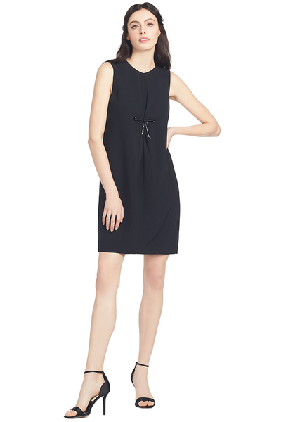 Numero Ventuno Vinyl Bow Shift Dress (Black)  - 38