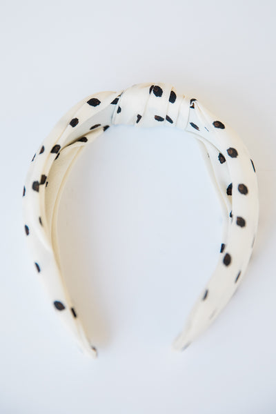 Pleated Polka Dot Headband - Creme