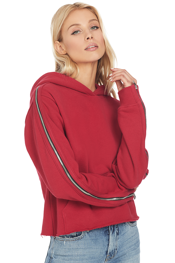 RtA Cicely Zip Sleeve Hoodie (Sunset Red)