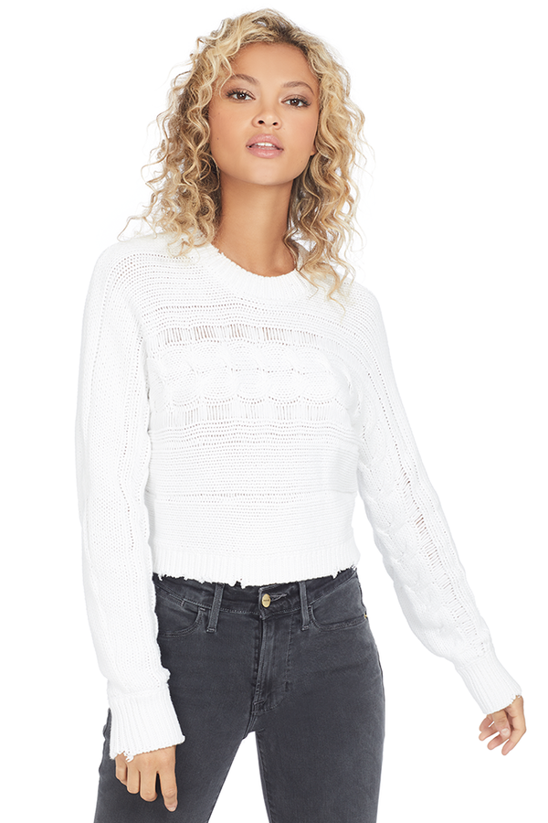 RtA Fever Cropped Cable Crewneck Sweater (Blanc)
