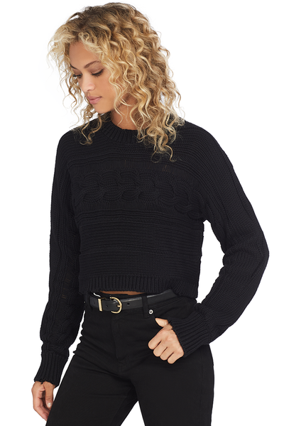 RtA Fever Cropped Cable Crewneck Sweater (Jet Black)