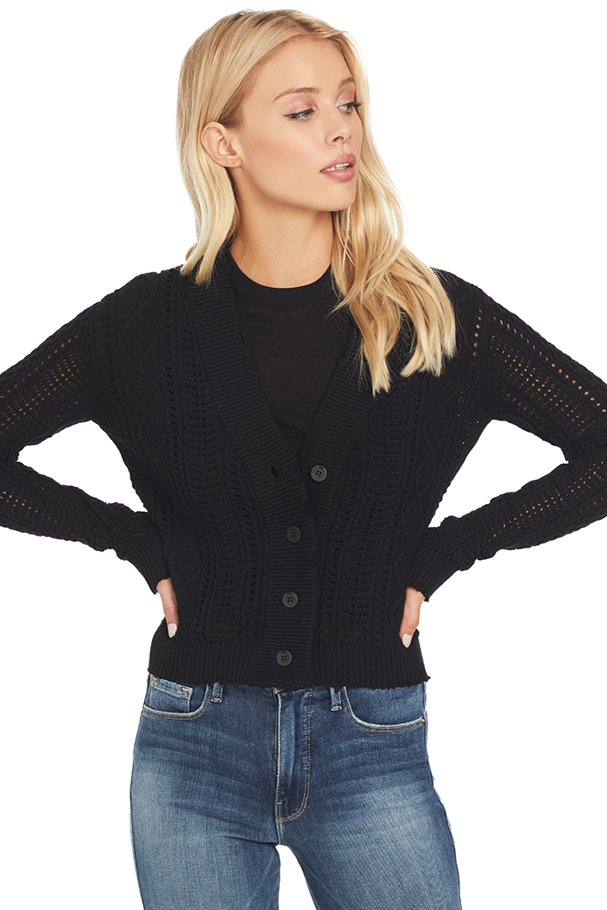 RtA Hunter Cropped Cardigan (Jet Black)