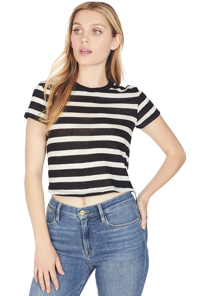 RtA Rain Cropped Tee (Black Stripe)