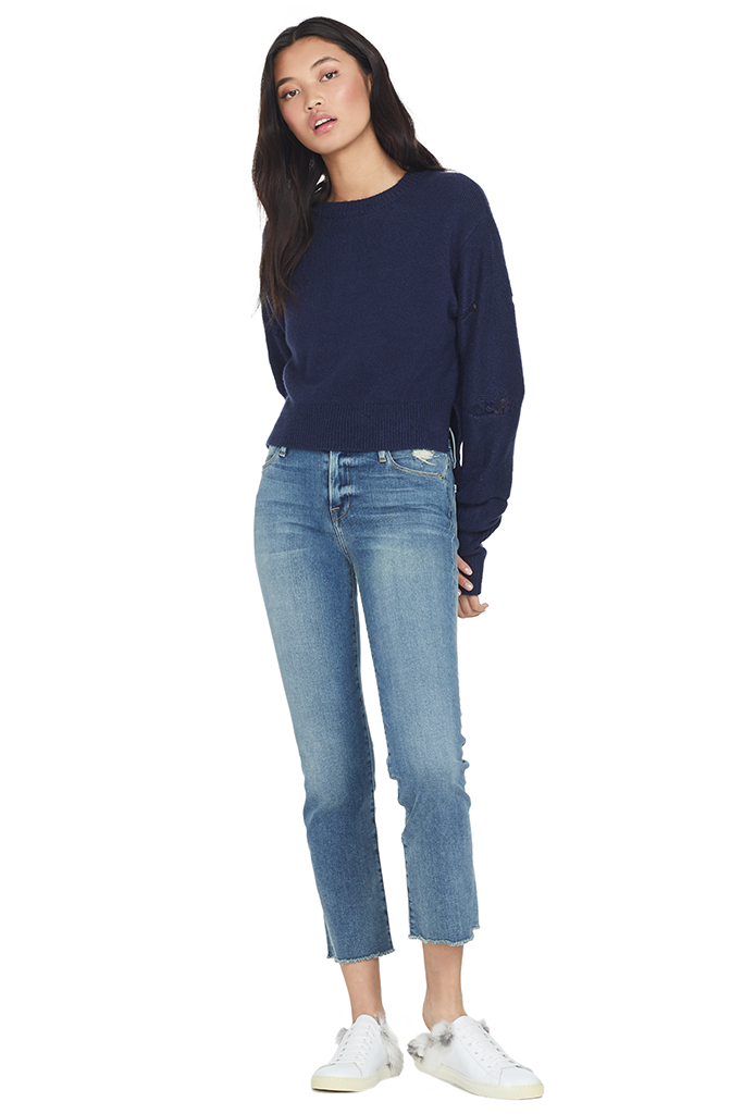 RtA Gilda Cropped Crew Neck Sweater (Navy)