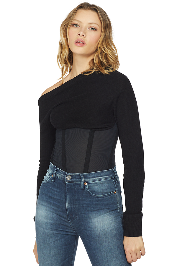 RtA Quinn Off Shoulder Corset Sweater Black