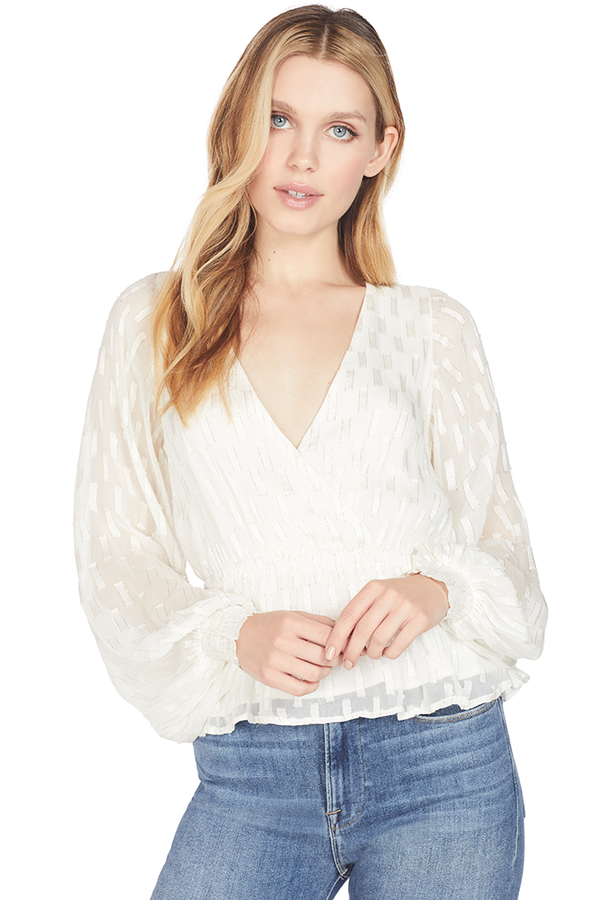 Suboo Alchemy Lurex Wrap Front Blouse (Cream/Gold)