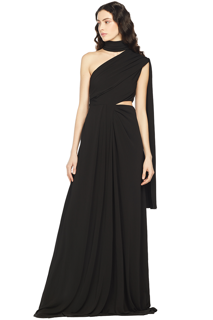 Saloni Honey Long Dress (Black)