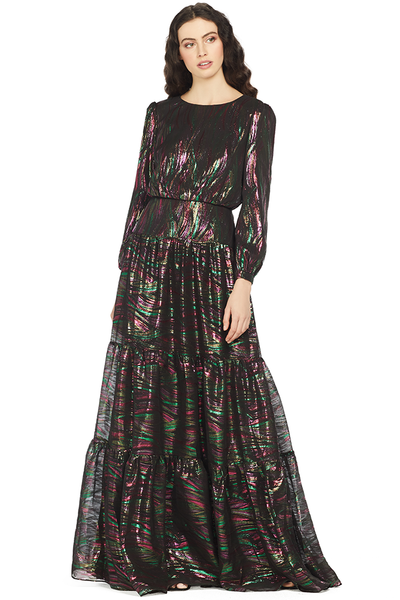 Saloni Isabel Long Dress (Black Rainbow)