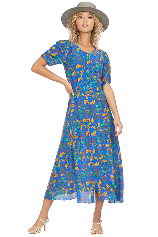 Saloni Lea-C Dress (Azure Berry Leaf)