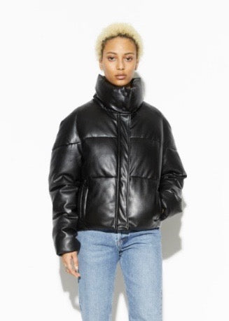 Jemma Vegan Leather Puffer Jacket - Black