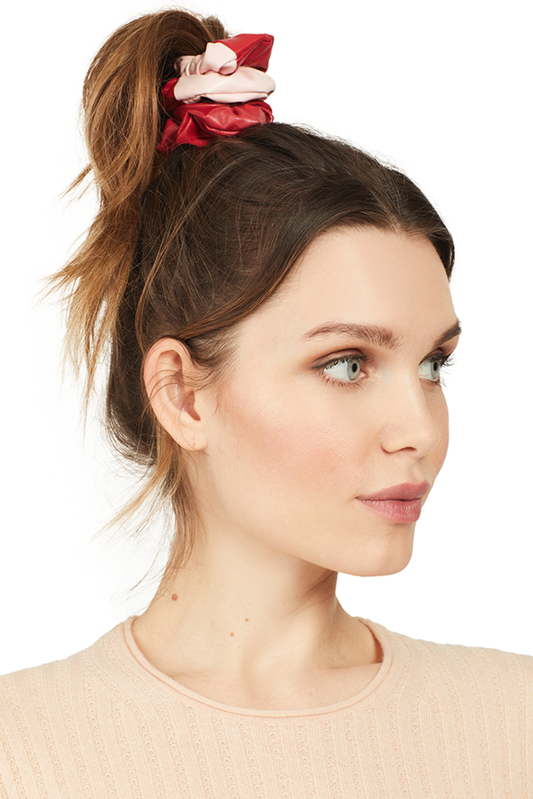 Milk Vegan Leather Scrunchie (Two Tone Red/Pink)