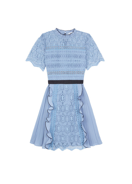 Blue Lace Guipure Mini Dress - Blue Steel