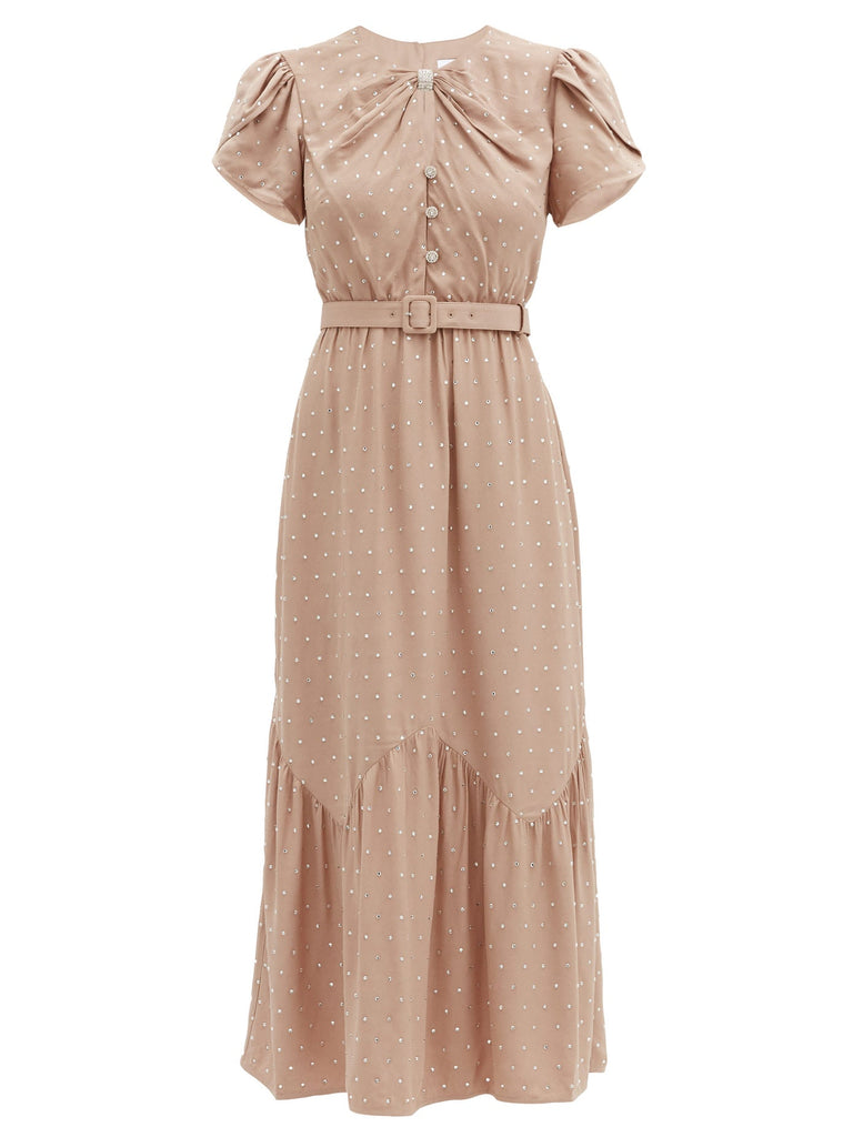 Diamante Crepe Midi Dress - Nude