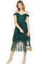 self portrait green off shoulder fine lace dress