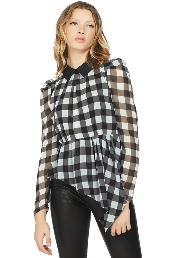 Self Portrait Gingham Printed Top Black/Ivory