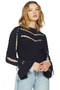 Self Portrait Navy Knitted Crop Jumper