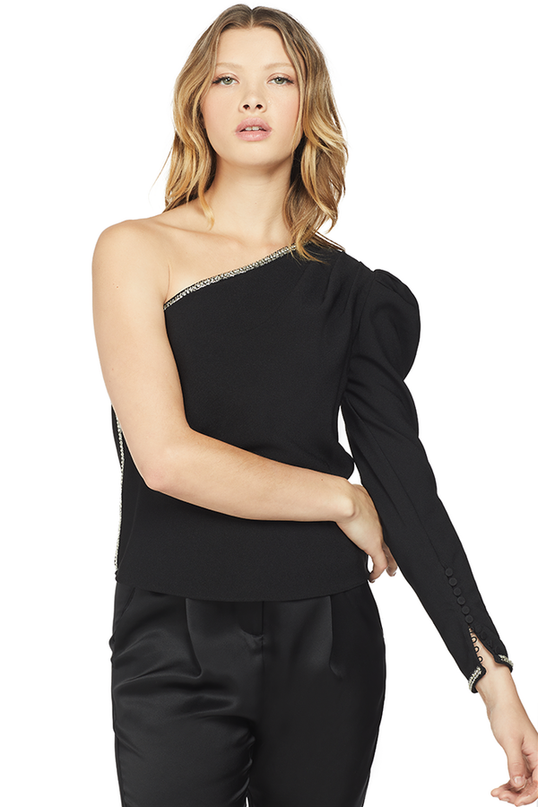 Self Portrait One Shoulder Crepe Top Black