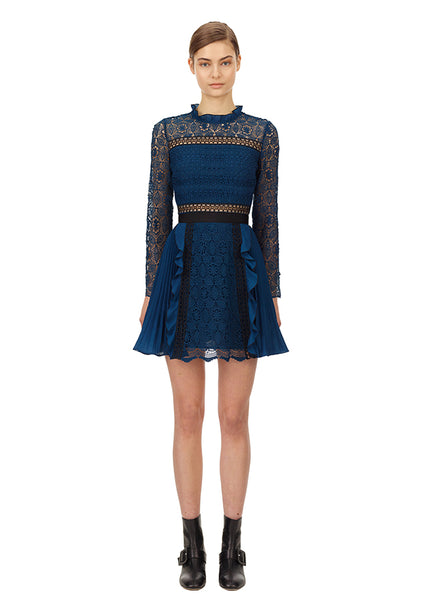 Petrol Lace Guipure Mini Dress - Petrol Blue
