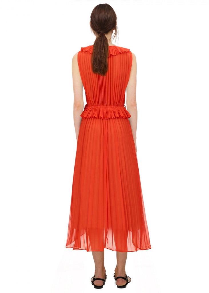 Orange Ruffle Trim Chiffon Midi Dress - Orange