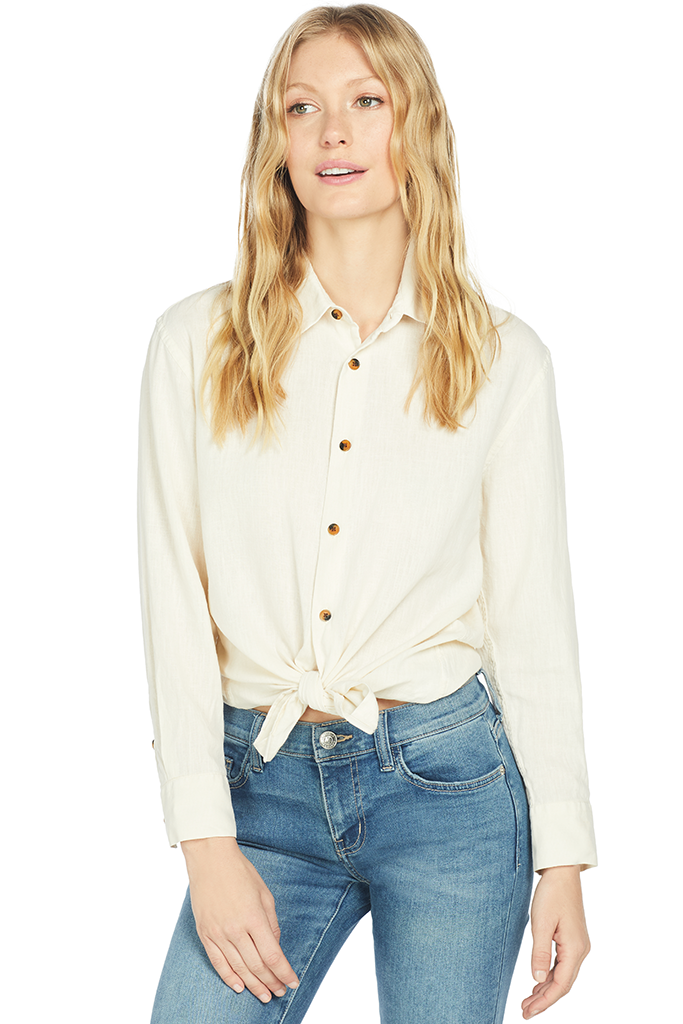 Solid and Striped Linen Button Down Shirt (Cream)
