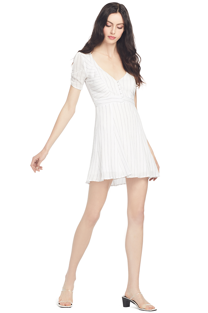 Suboo Button Front Mini Dress (White Stripe)