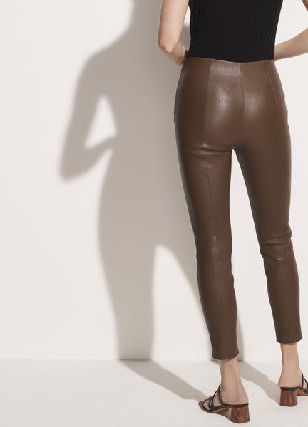 Leather Crop Pant (Dark Olive)
