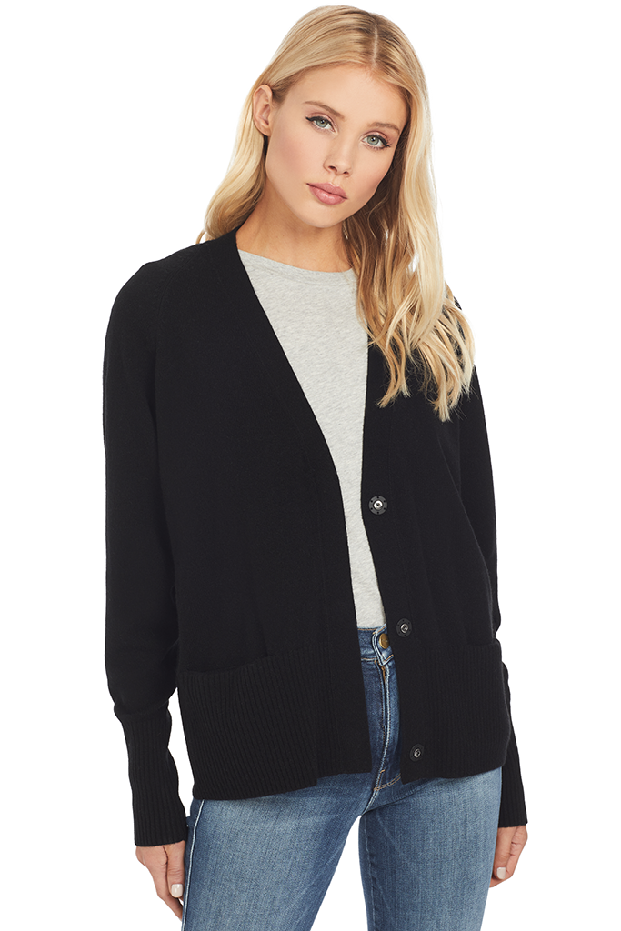 Vince Snap Cardigan in Black