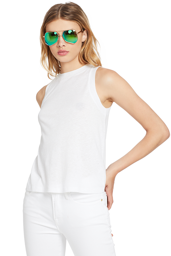Vince Sweater Trim Tank (Optic White)