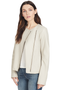 Vince Womens Cross Front Leather Jacket White
