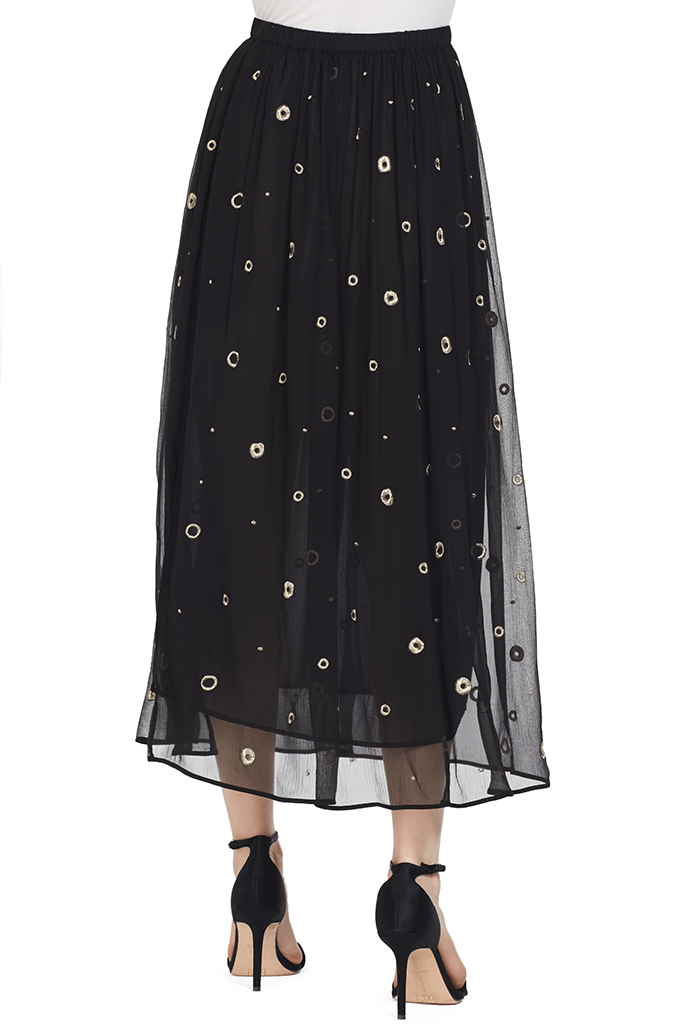 Vince Womens Metallic Embroidery Skirt Black