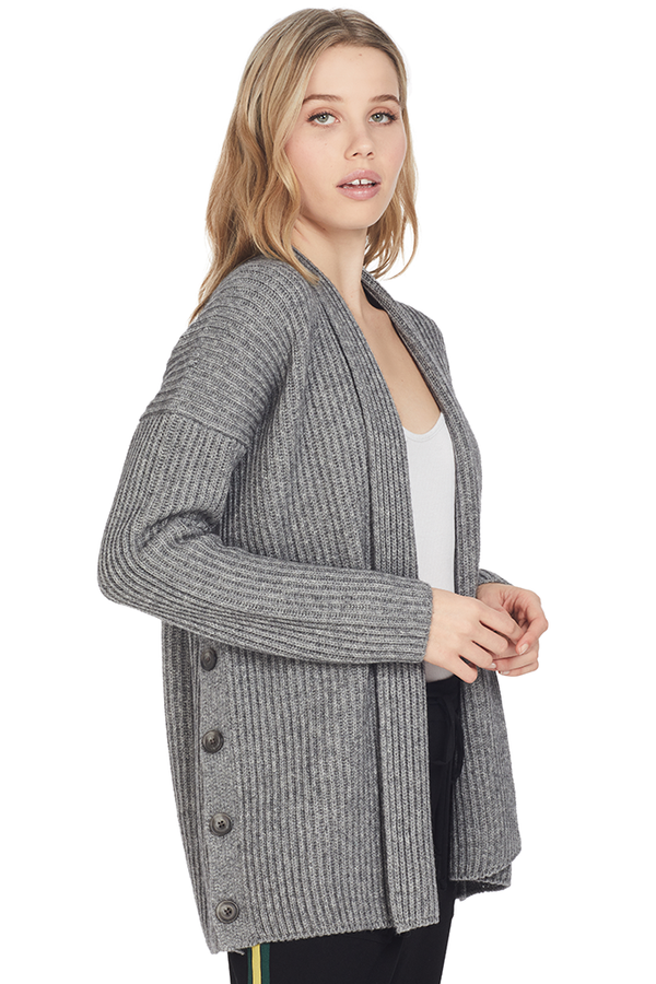 Ribbed Button Cardigan (Medium Grey)