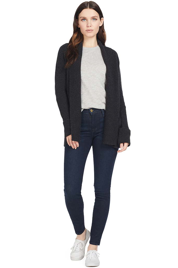 Vince Womens Wide Collar Cardigan (Carbon)