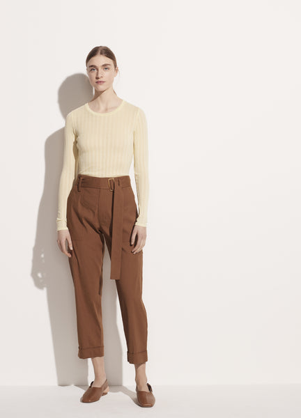 Belted Linen Pant - Pecan