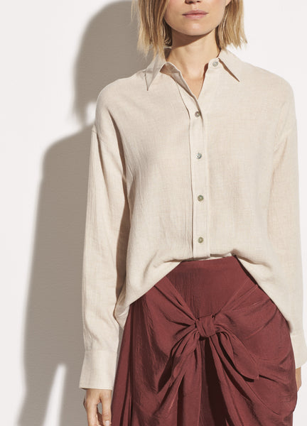 Boxy Button Down - Dove Oat