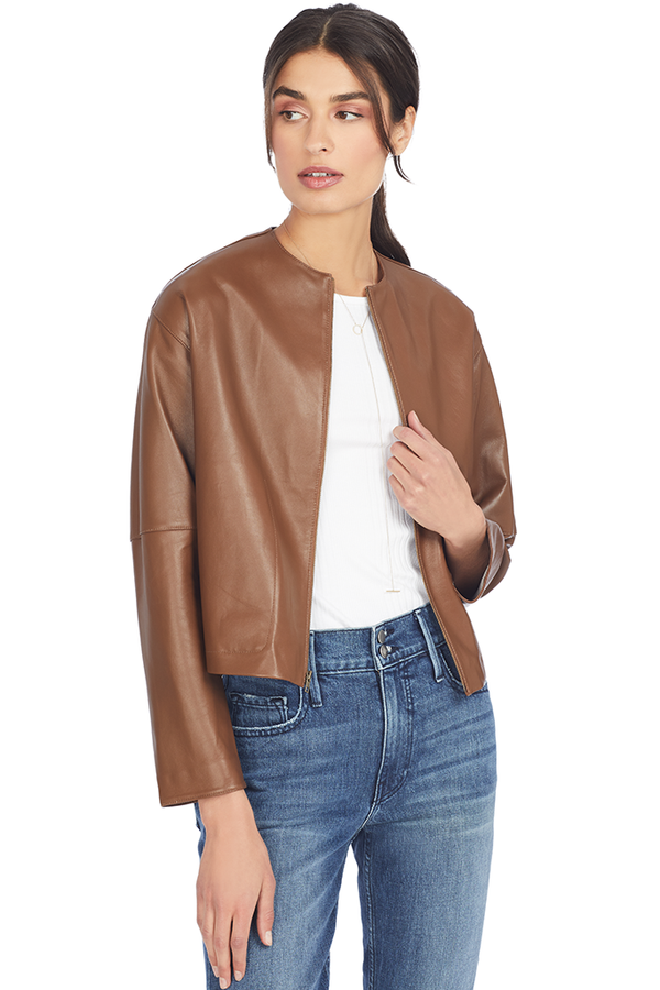 Vince Women's Cropped Leather Jacket (Umbra)