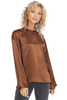Vince Satin Long Sleeve Blouse (Umbra)