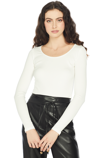 Vince L/S Deep Scoop Neck (White)
