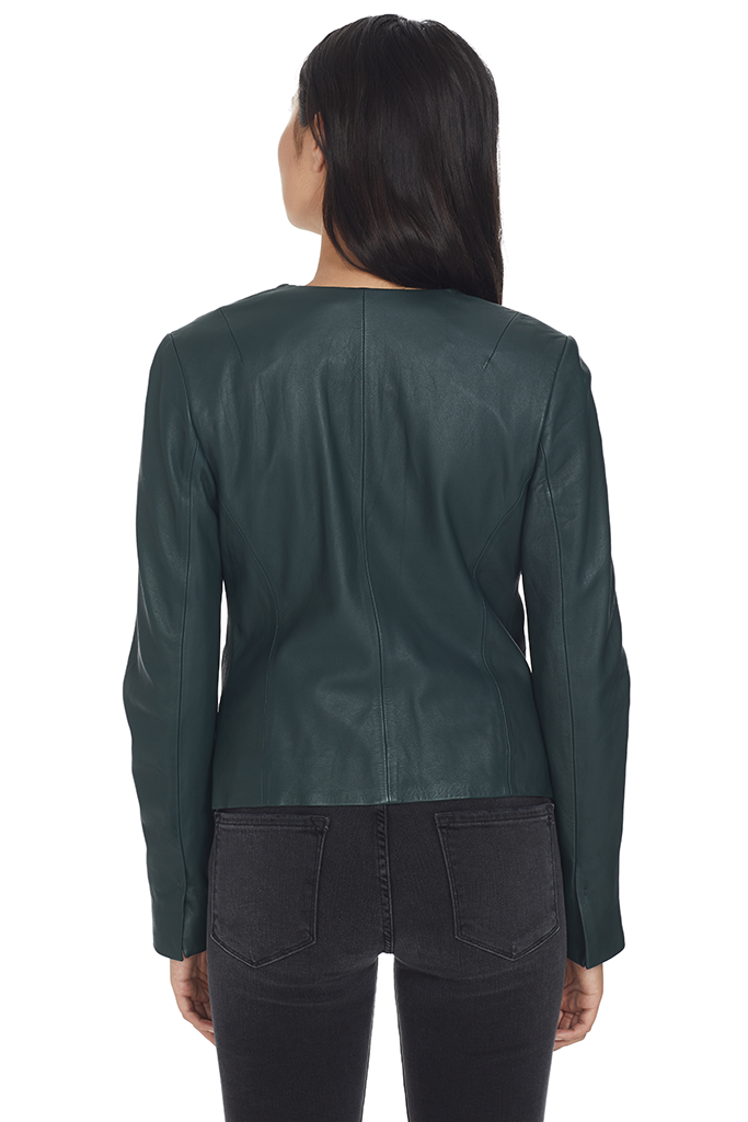 Leather Cross Front Jacket (Dark Palm)