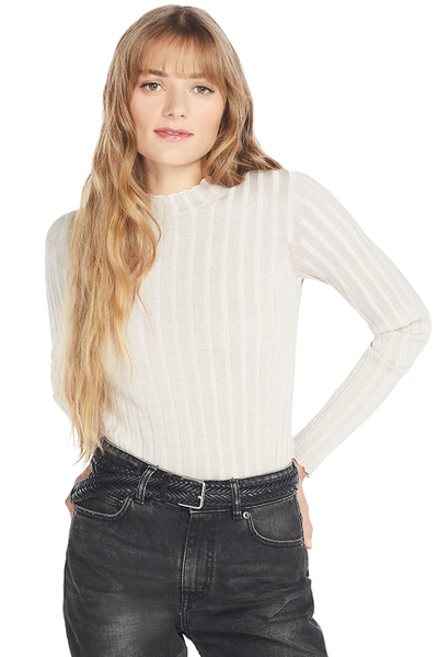 Vince Ribbed Mock Neck Pullover