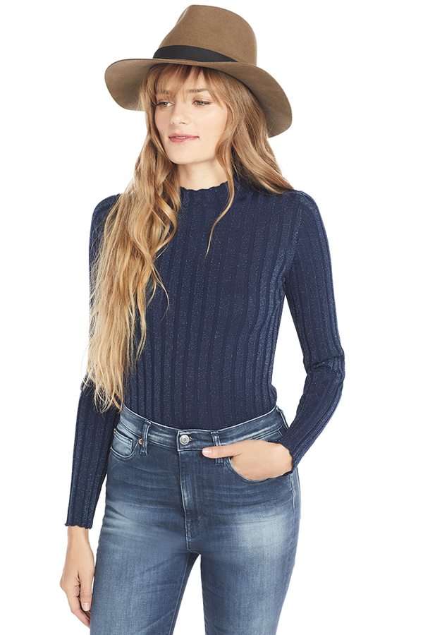 Vince Ribbed Mock Pullover Blue