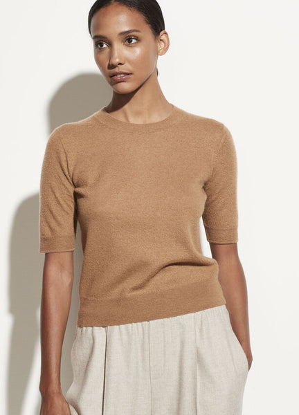 Short Sleeve Boiled Cashmere Pullover - Amber