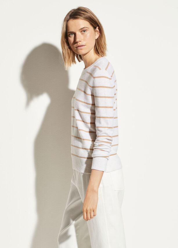 Striped Cashmere Sweater- Camel/Heather White