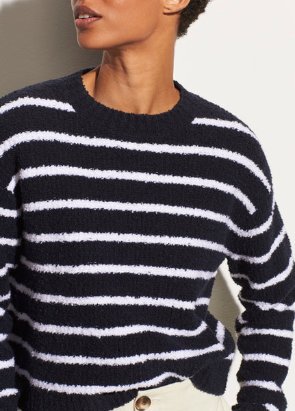 Striped Waffle Stitch Crew - Coastal/Optic White