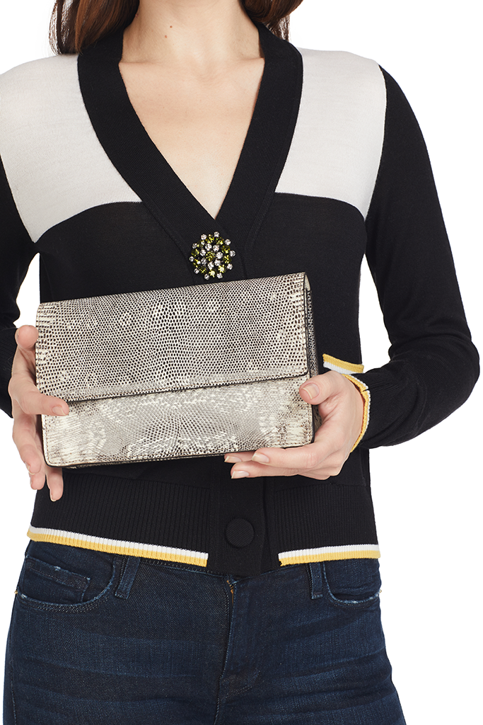 W. Kleinburg Diana Clutch in Ring Lizard (Natural)