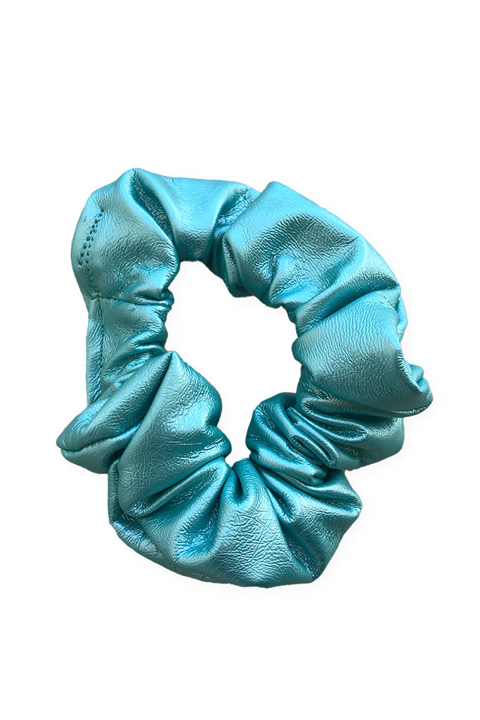 Milk Vegan Leather Scrunchie - Metallic Teal