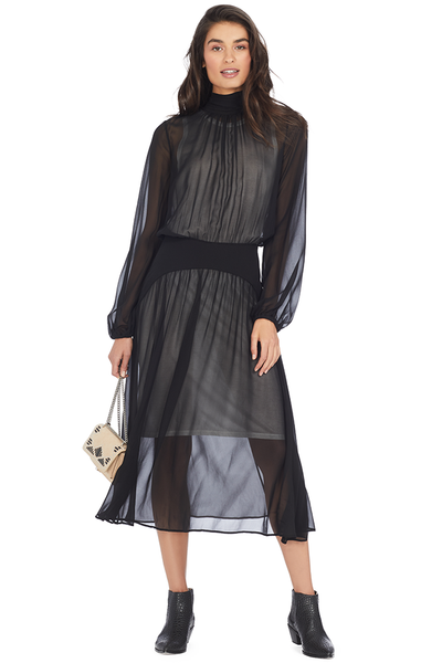 Numero Ventuno High Neck Tie Sheer Chiffon Dress