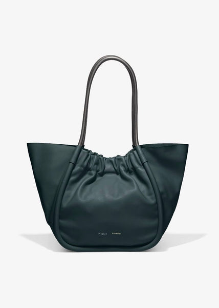 L Ruched Tote - Smooth Calf - Petrol Green