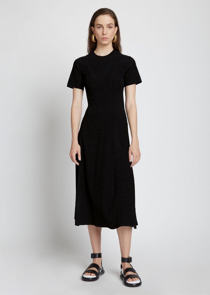 Cut Out Back Knit Dress - Black