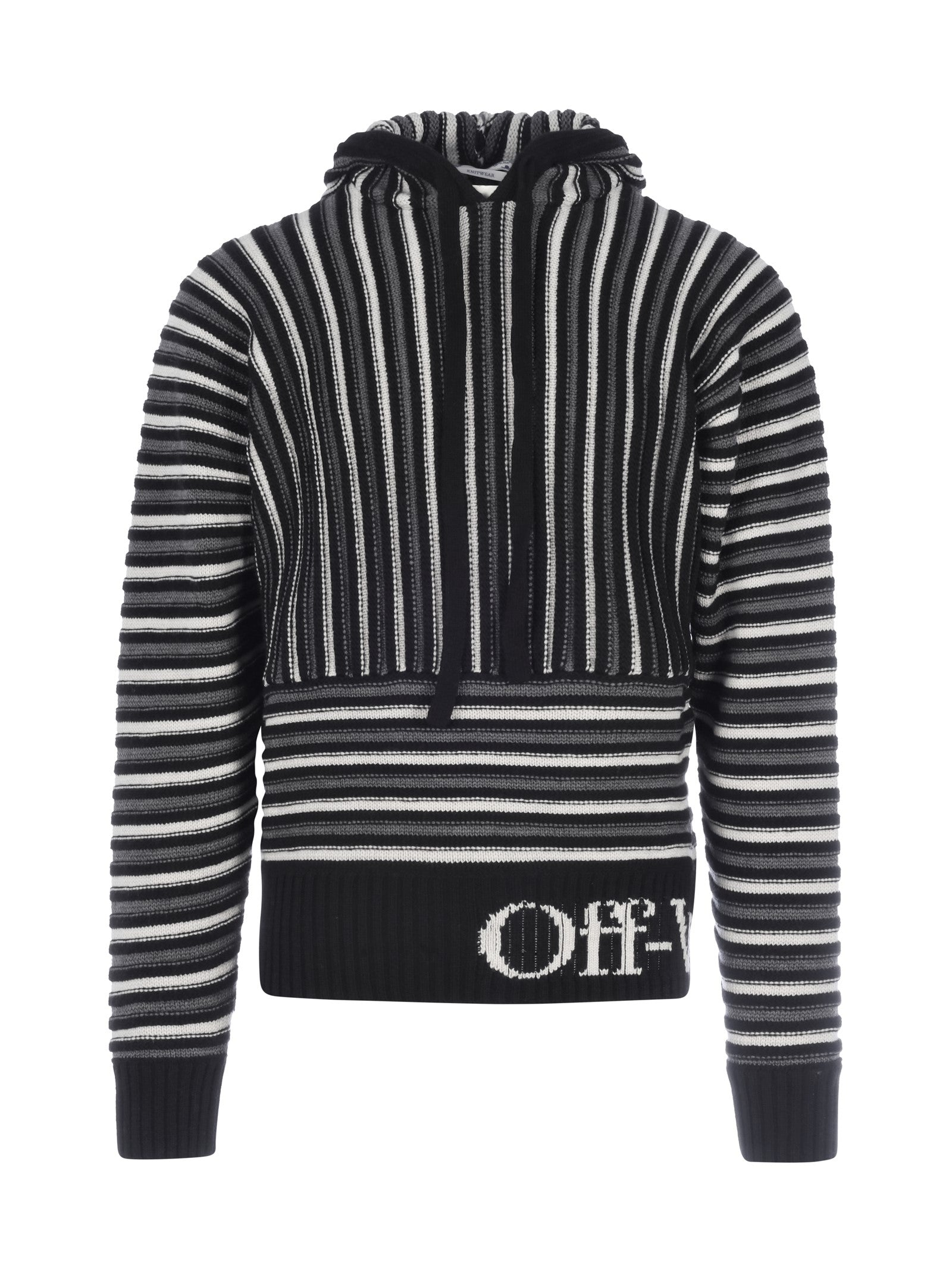 OFF-WHITE STRIPED KNITTED HOODIE